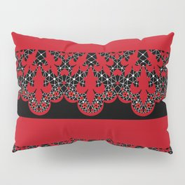 Red vintage lace on black background . Pillow Sham