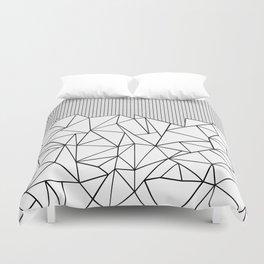 Abstract Outline Grid Black on White Duvet Cover