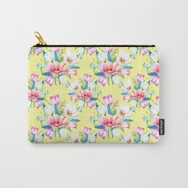 spring tulips on soft yellow background Carry-All Pouch