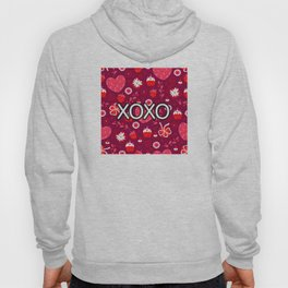 Valentine XOXO Red Hearts and Bows Hoody