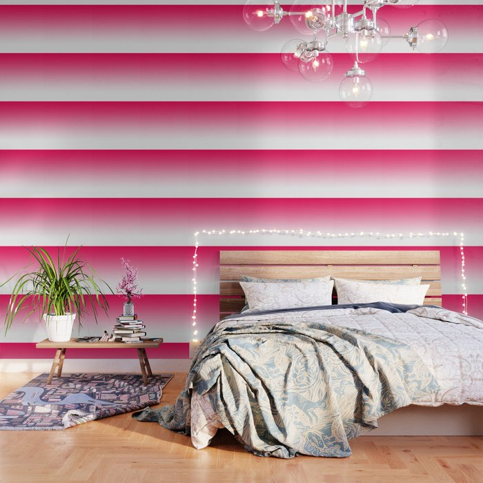 Modern Bright Simple Neon Pink White Color Ombre Gradient Wallpaper