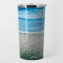 Summer time, sea, beach, sand, waves. Travel Mug