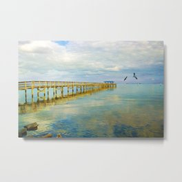 Ocean Pier at Dusk Metal Print
