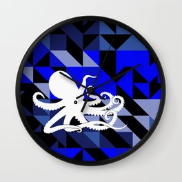 Octopus Geometric artwork in black and blue Wall Clock