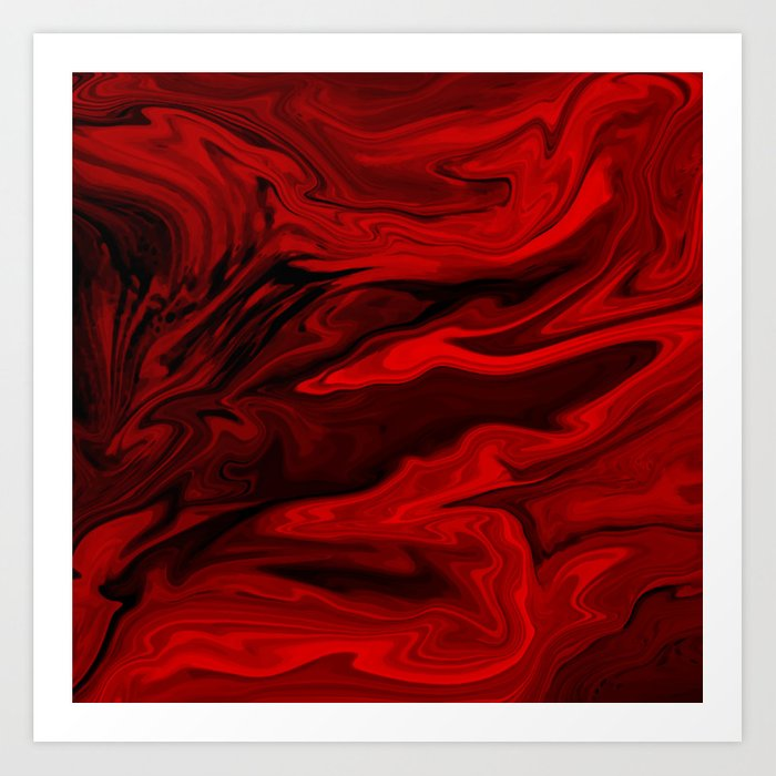 Blood Red Marble Art Print By Createdprototype Society6