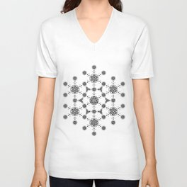 molecule. alien crop circle. flower of life and celtic patterns Unisex V-Neck