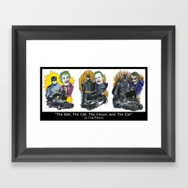 The Bat, The Cat, The Clown, and The Car Framed Art Print