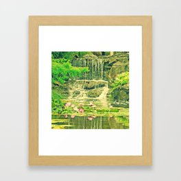 The Waterfall and the Lily Pond Framed Art Print