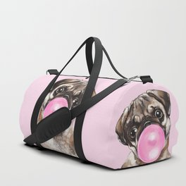 Pug with Pink Bubble Gum Duffle Bag