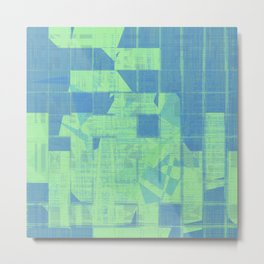Bluish square patterns make together as tiles Metal Print