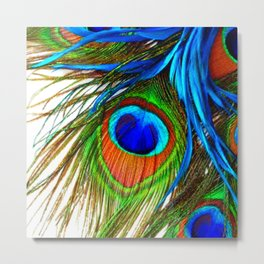 BLUE PEACOCK EYE FEATHER DESIGN Metal Print