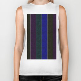 Blue Eggplant Teal Black Snowflake Stripes Biker Tank