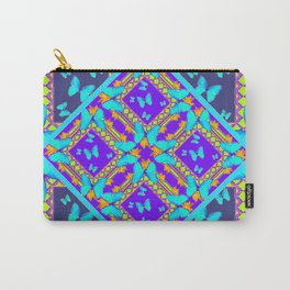 Western Style Purple Turquoise Butterflies Creamy Gold Patterns Carry-All Pouch