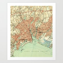 Vintage Map of Bridgeport Connecticut (1951) 2 Art Print
