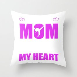 Karate Moms Full Heart Mothers Day T-Shirt Throw Pillow