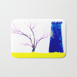 Tree With Blue Mill On Yellow Bath Mat