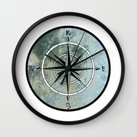 compass Wall Clocks featuring Compass by madbiffymorghulis