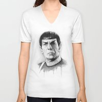 spock V-neck T-shirts featuring Spock by Olechka