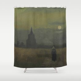 Vincent van Gogh - The Old Tower at Dusk Shower Curtain