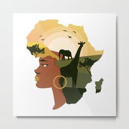 African Woman Art Afro Girl Metal Print