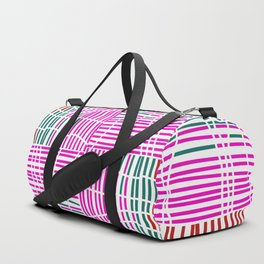 Red, Teal, Pink Vein and Stripe Patterns Duffle Bag
