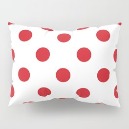 Polka Dots - Fire Engine Red on White Pillow Sham