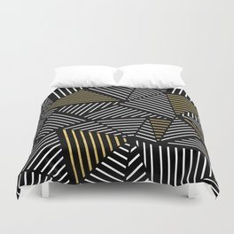 A Linear Black Gold Duvet Cover