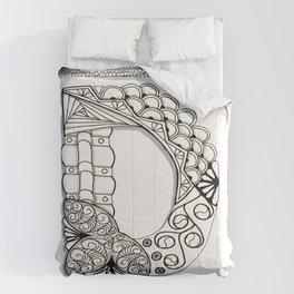 Zentangle D Monogram Alphabet Illustration Comforters