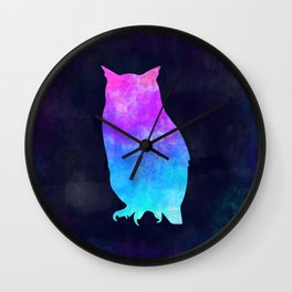 OWL IN SPACE // Animal Graphic Art // Watercolor Canvas Painting // Modern Minimal Cute Wall Clock