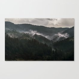 Foggy morning it Serbian mountains Canvas Print
