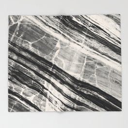 Abstract Marble - Black & Cream Throw Blanket