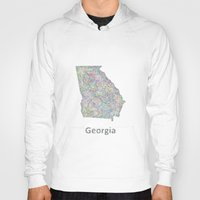 georgia Hoodies featuring Georgia map by David Zydd