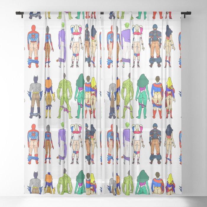 Superhero Butts - Power Couple Sheer Curtain