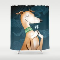 the hound Shower Curtains featuring Zen Hound by Chris Beetow Illustration