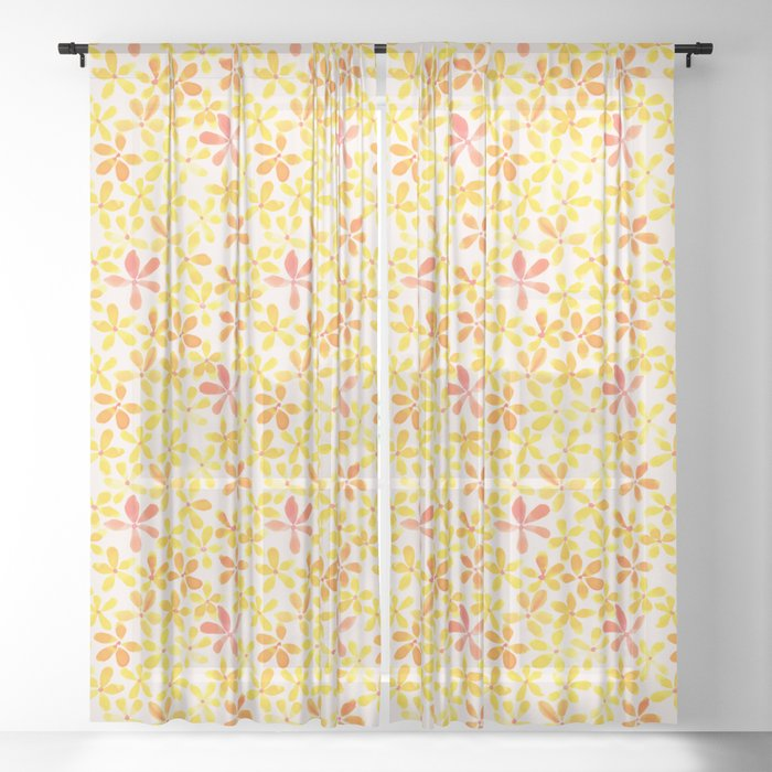 Yellow And Orange Sheer Curtain By