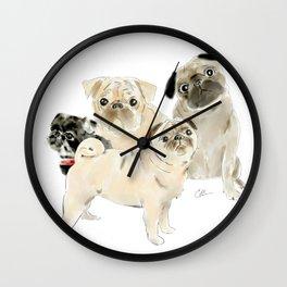 Pug Dogs Pugs Wall Clock