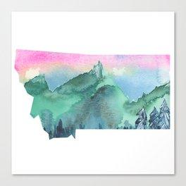 Watercolor Montana - Pink Sky Canvas Print