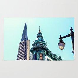 pyramid building and vintage style building at San Francisco, USA Rug