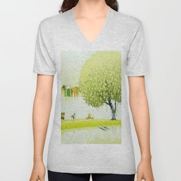 BY THE RIVER-SELLING FLOWERS Unisex V-Neck