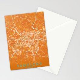 Pamplona, Spain, Gold, Blue, City, Map Stationery Cards