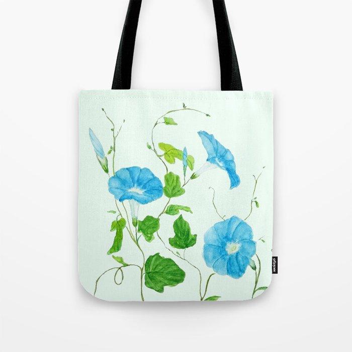 blue morning glory Tote Bag