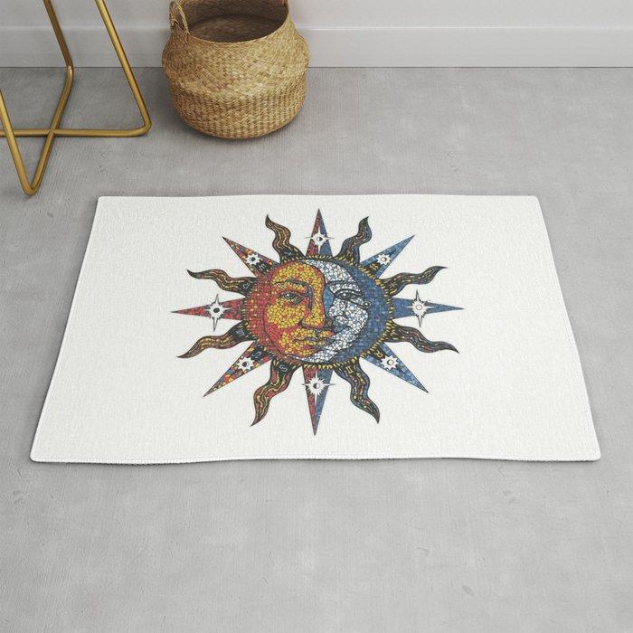 Celestial Mosaic Sun Moon Rug