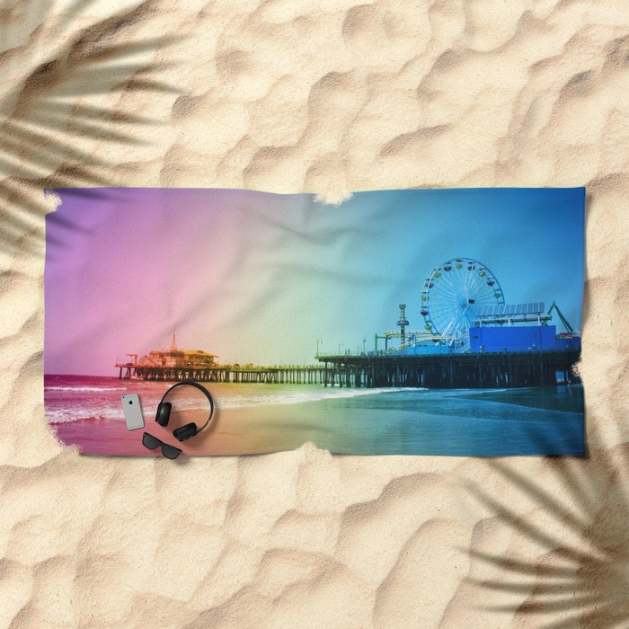 Santa Monica Pier Rainbow Colors Beach Towel by Christine aka stine1