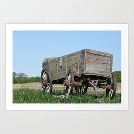 Abandoned Wooden Wagon in a Field Art Print