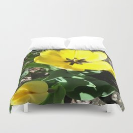 Yellow Crocus Flowers Duvet Cover