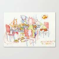 vegetarian Canvas Prints featuring Vegetarian Werewolves by chechula