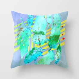 Boho Feather Zig Zag Collage | Watercolor Feather Art Print | Blue Aqua Yellow Art Print Throw Pillow