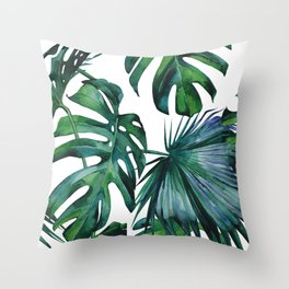 Tropical Palm Leaves Classic II Throw Pillow