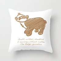 badger Throw Pillows featuring Badger by Gothic Panda