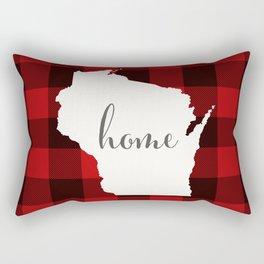 Wisconsin is Home - Buffalo Check Plaid Rectangular Pillow